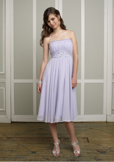 Chiffon Strapless Straight Neckline with Delicate Ruffle Accents 2012 Plum Column Bridesmaid Dress