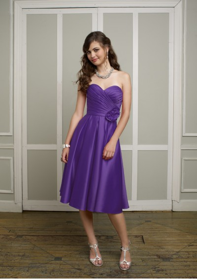 Satin Strapless Sweetheart Neckline with Pleated Bodice 2012 Plum Column Bridesmaid Dress