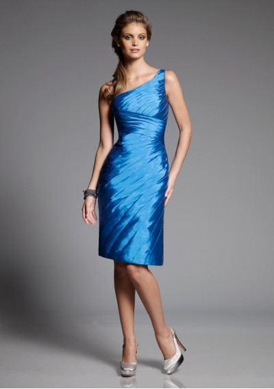Taffeta One-Shoulder Strap with Asymmetrical Pleated Gown 2012 Blue Sheath Bridesmaid Dress