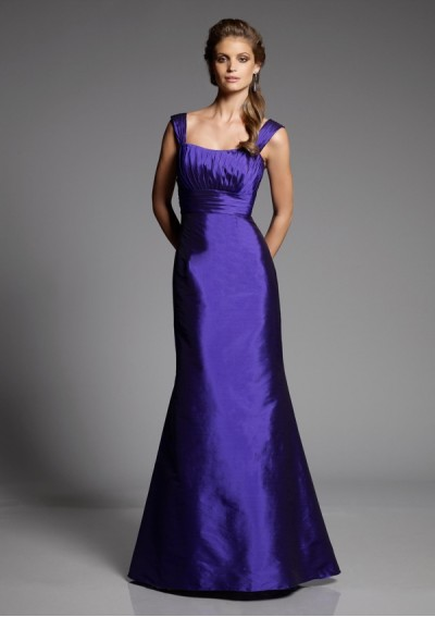 Taffeta Softly Curved Neckline Cap Sleeves with Asymmetrical Pleated Bodice 2012 Plum Mermaid Bridesmaid Dress