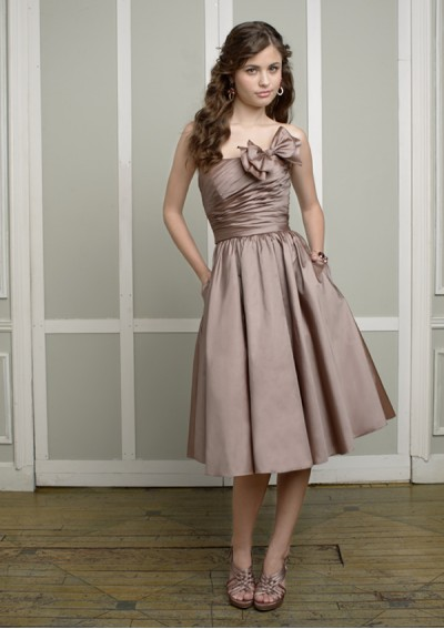 Taffeta Strapless Straight Neckline with Bow Accents 2012 Brown A-Line Bridesmaid Dress