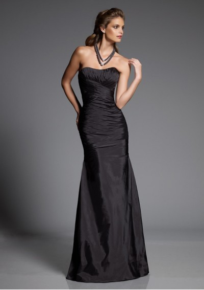 Taffeta Strapless Sweetheart Neckline with Rouched Bodice 2012 Black Mermaid Bridesmaid Dress